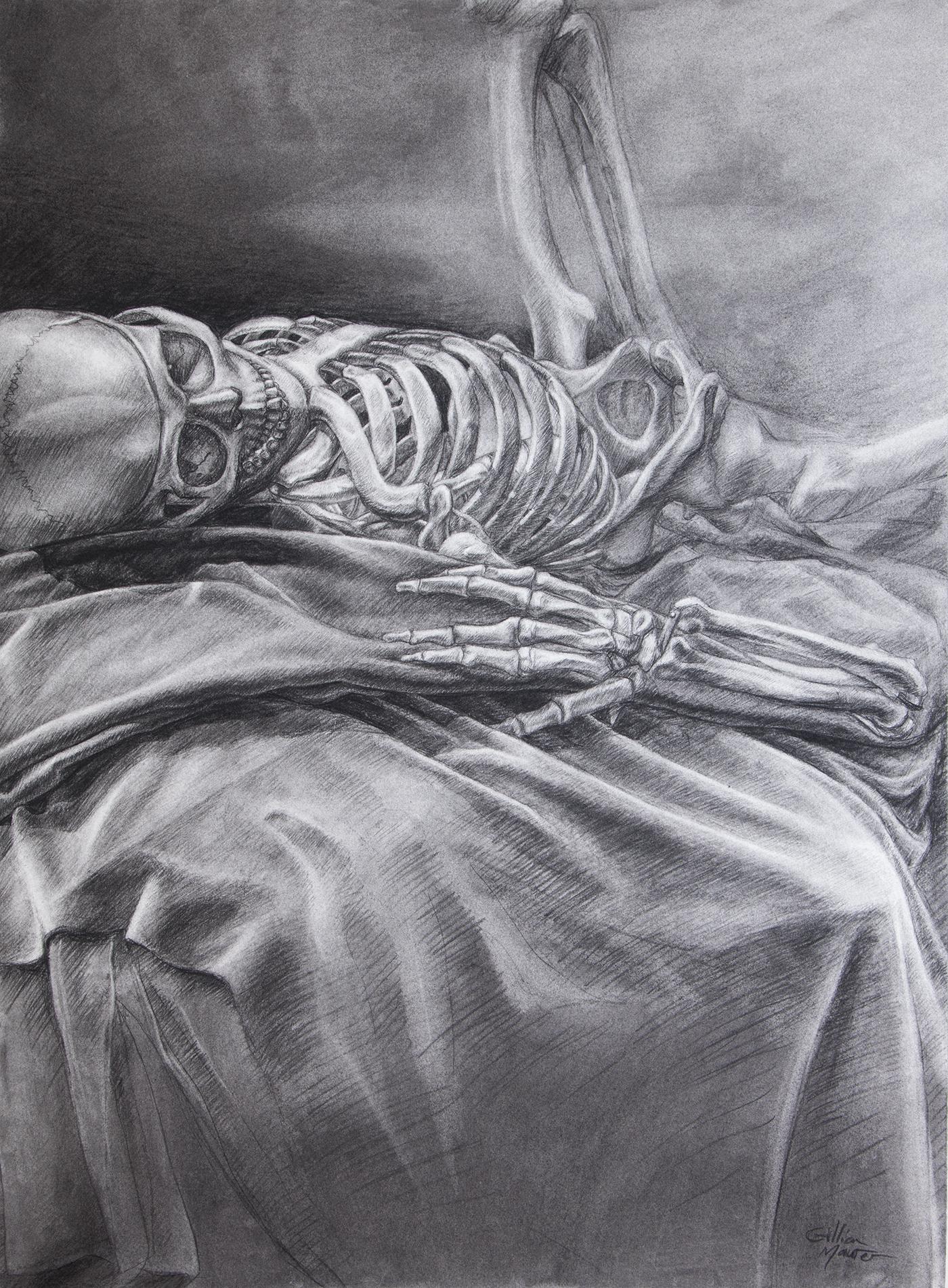 """""""Skeleton Study"""" Charcoal on Paper. 2018. Gillian Maurer."""