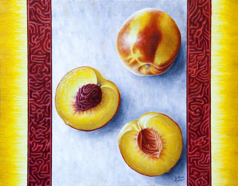 """Peaches"" Oil Paint on Canvas Board. 2016. Gillian Maurer."