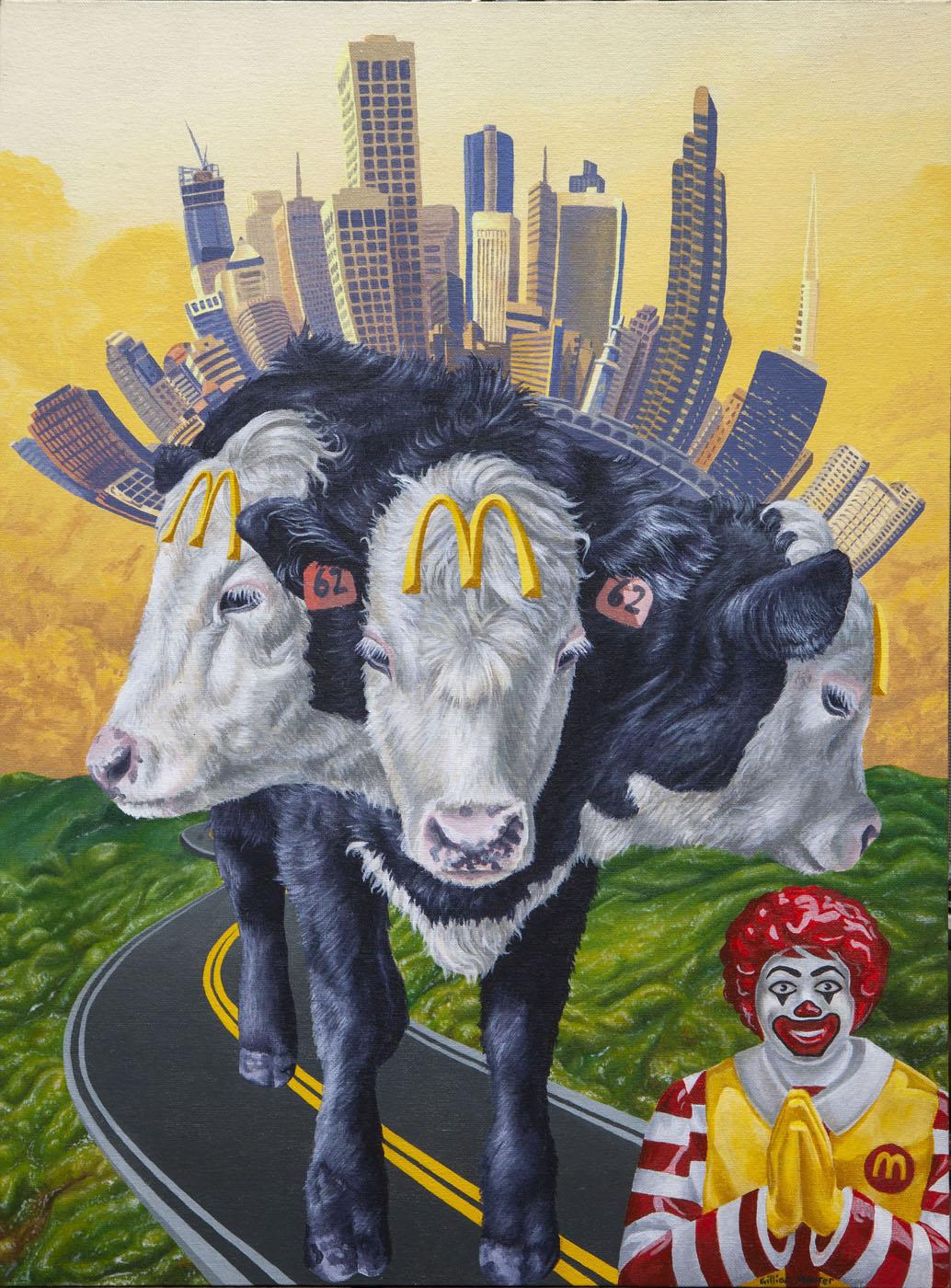 """""""Sacred Beast"""" Acrylic on Canvas Board. 2018. Gillian Maurer."""