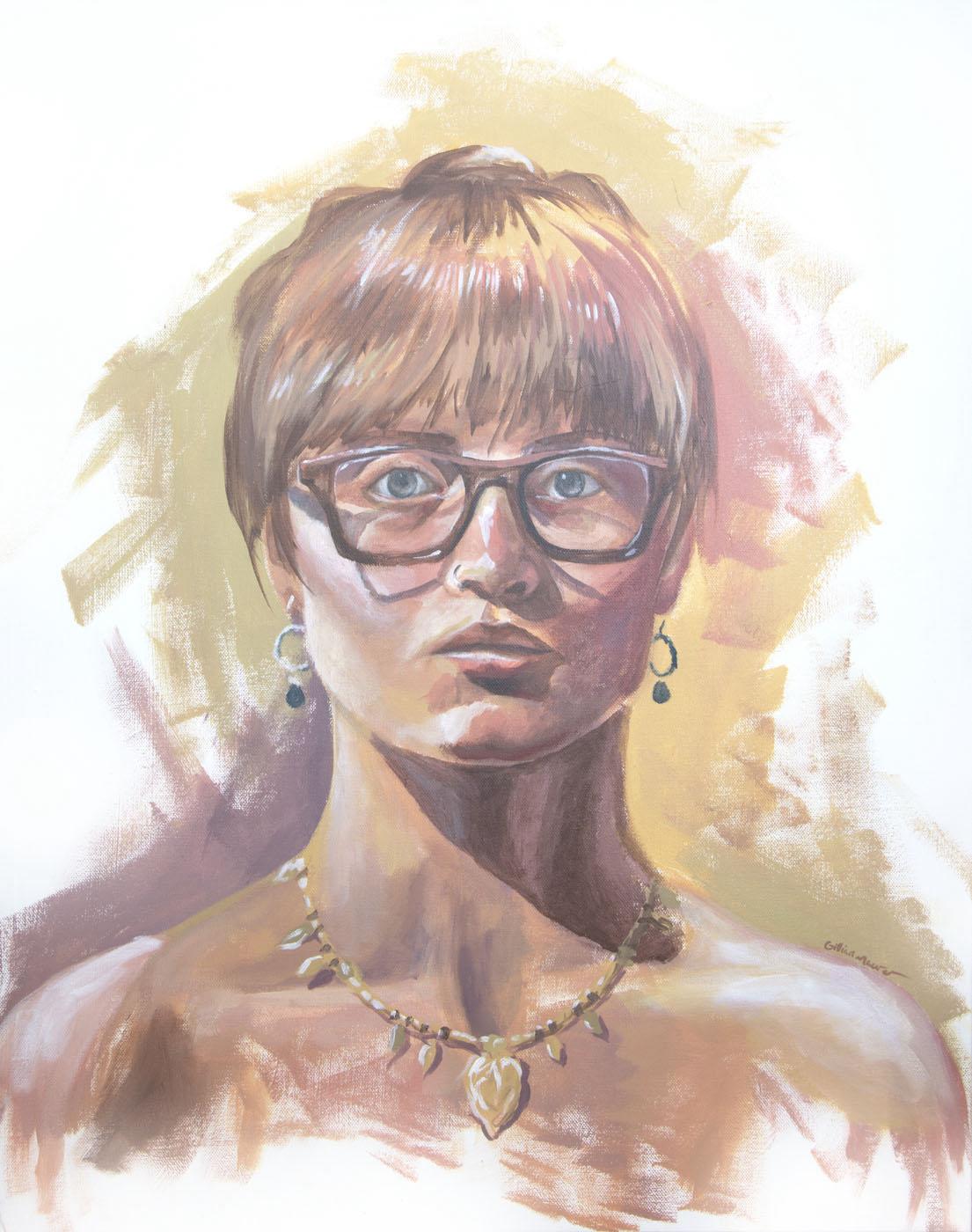 """""""3 Hour Self Portrait"""" Acrylic on Canvas . 2018. Gillian Maurer."""