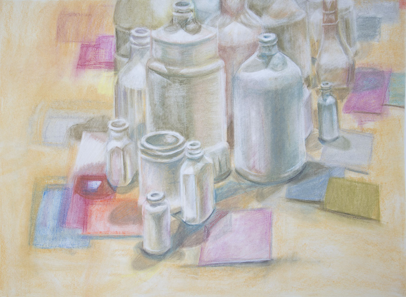 """Bottle Study"" Chalk Pastel on Paper. 2018. Gillian Maurer."