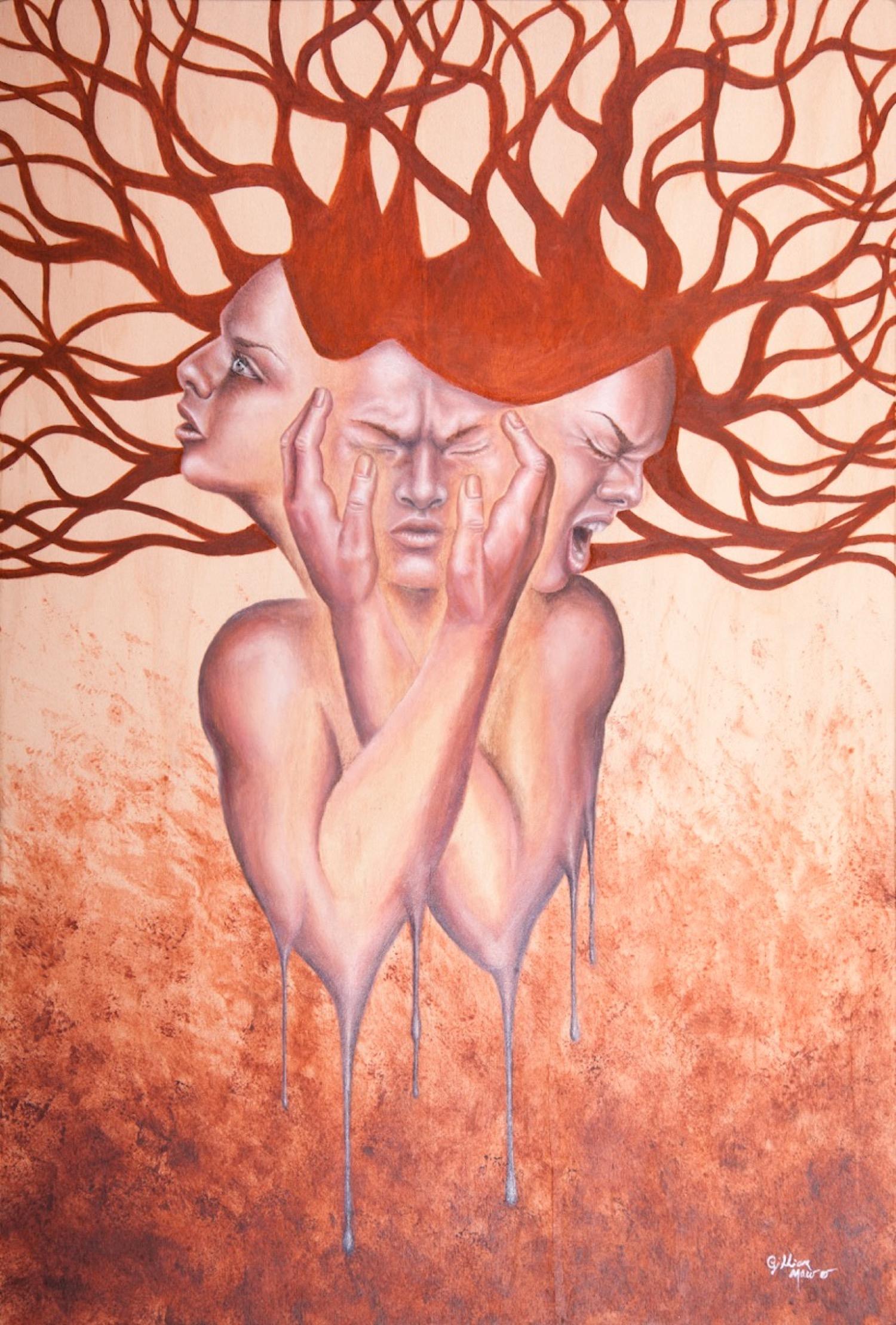 """""""Melt"""" Oil Paint on Wood. 2017. Gillian Maurer."""